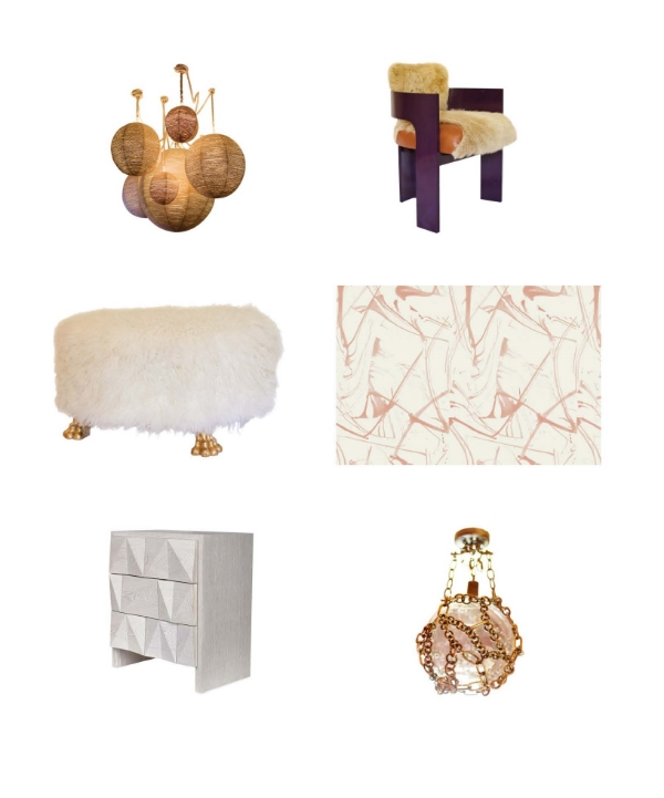 Rope Wrapped Chandelier, C-Back Occasional Chair, Claw Ottoman, Brushstrokes in Rose, Rem Faceted Chest, Ball and Chain Fixture