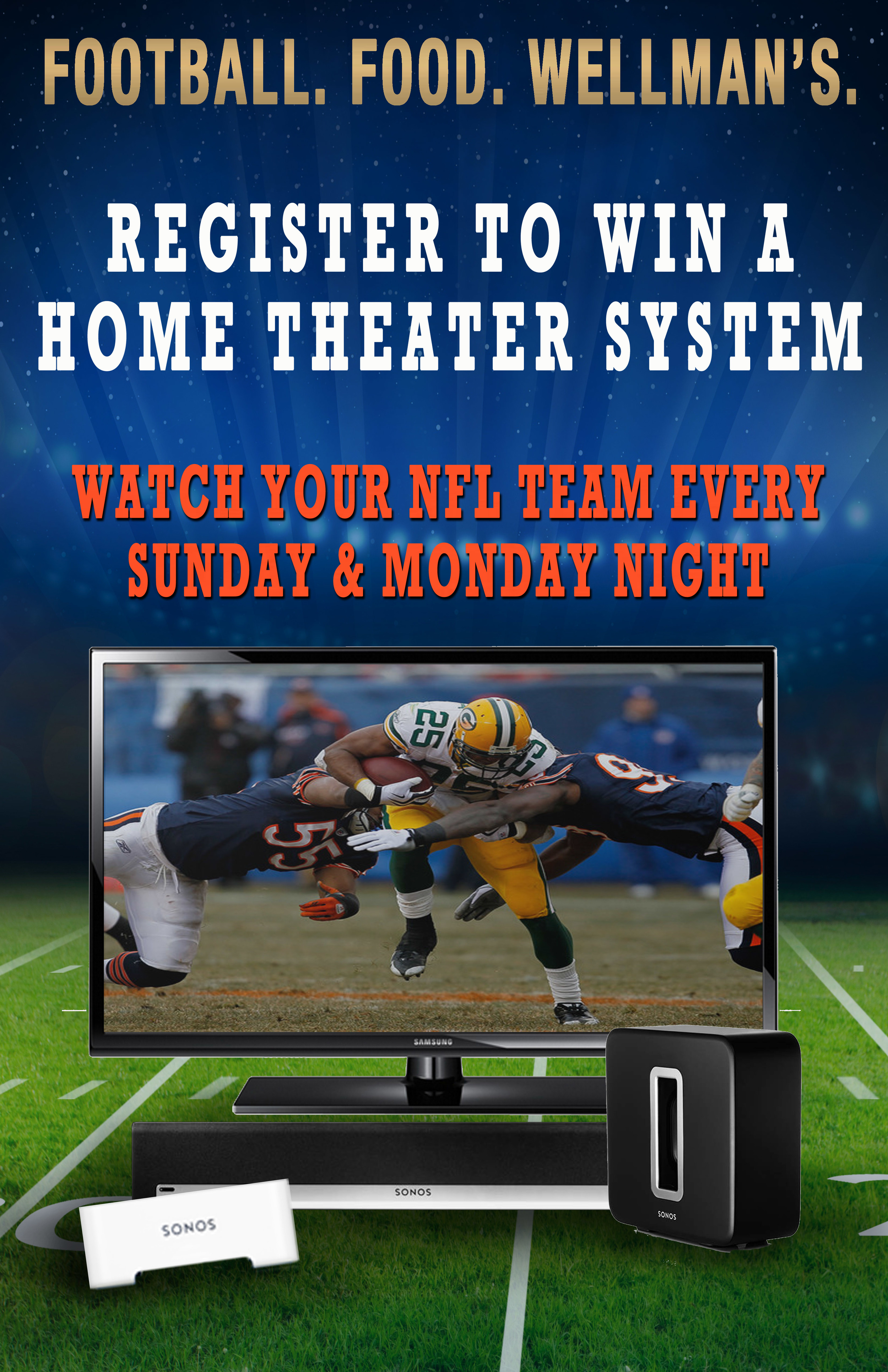 Win a home theater system from Wellman's Pub West Des Moines
