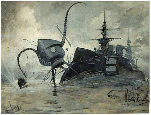 Thunderchild by Henrique Alvim Corrêa,   an Illustration  from the 1906 edition of War of The Worlds