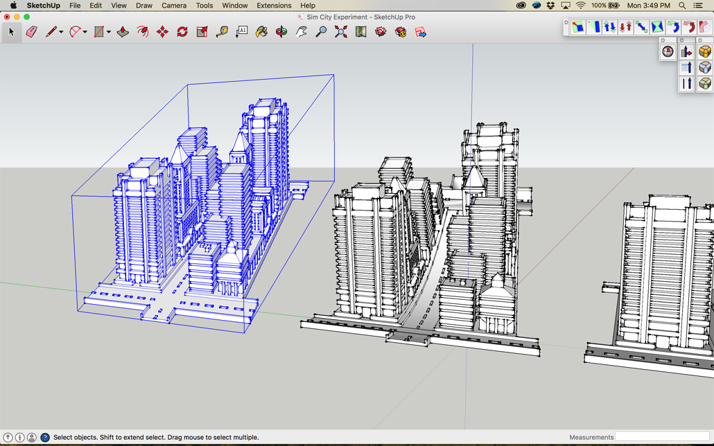 Forced Perspective Sim City 2000 in Sketchup
