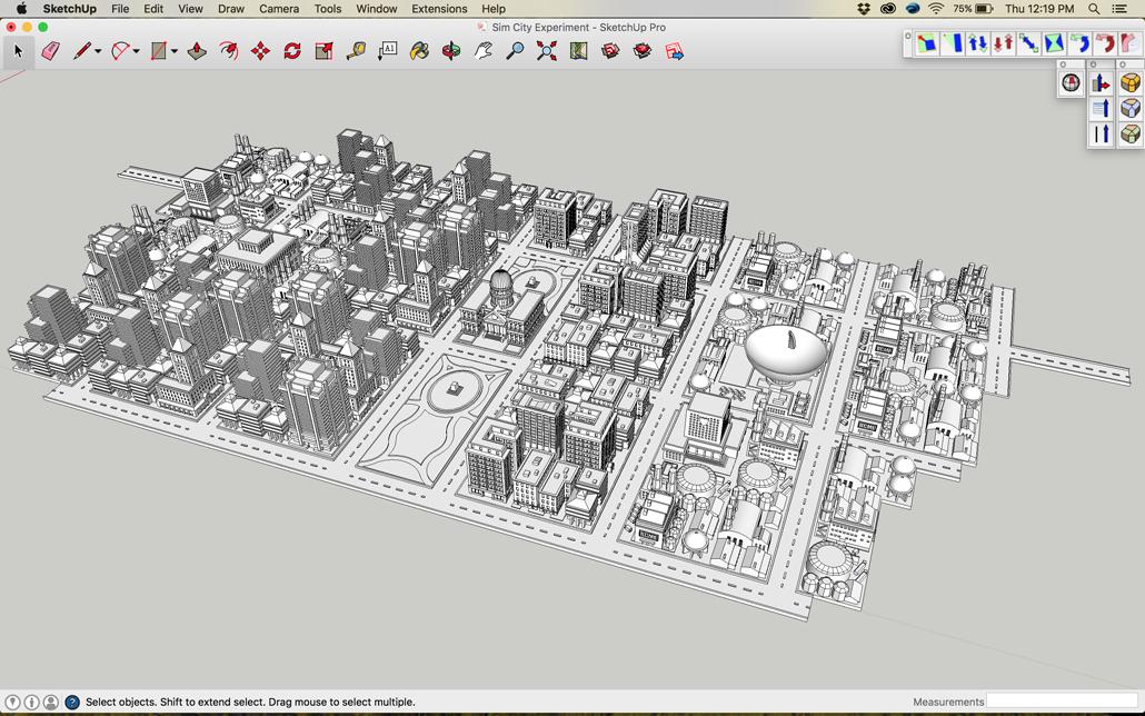 Sim City 2000 Sketchup Model Before Distortion