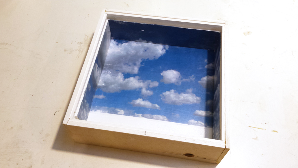 The Finished Shadowbox with a Cloud Image Transferred to the inner surface.