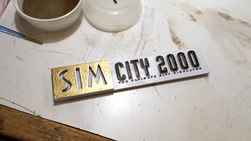 The Finished Simcity 2000 Logo for the shadow box