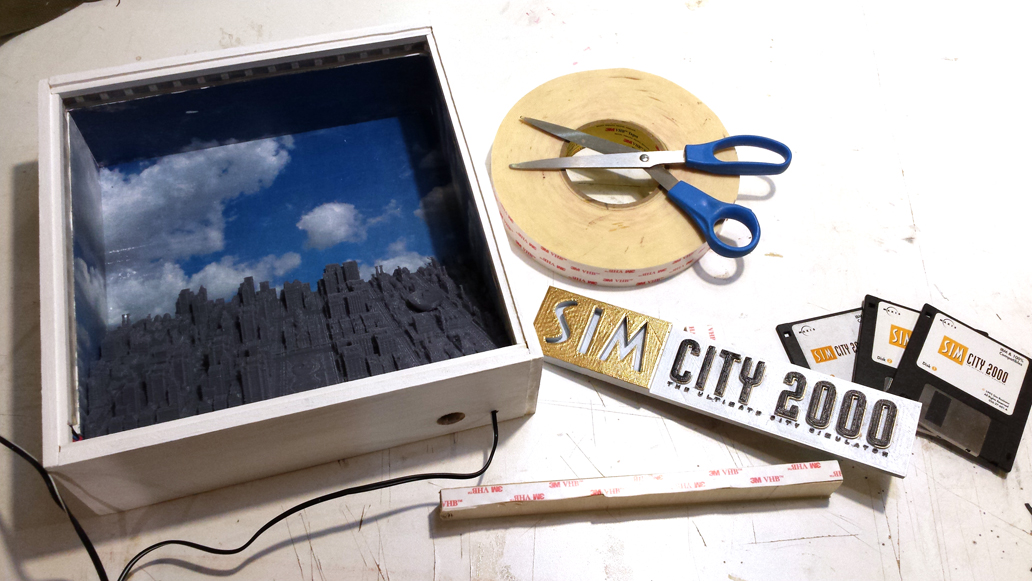 Building the inside of the Simcity 2000 Shadow Box