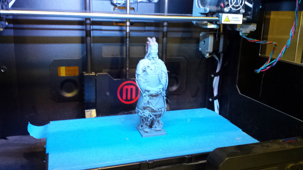 3D Printing the Warrior model from Thingiverse.