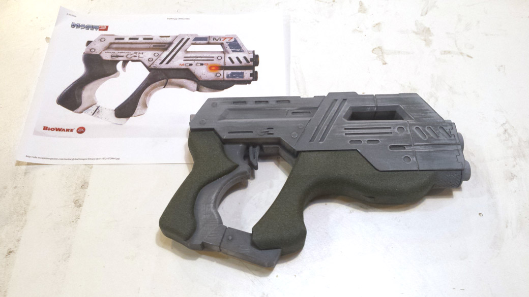 Textured Areas of Mass Effect Cosplay Pistol