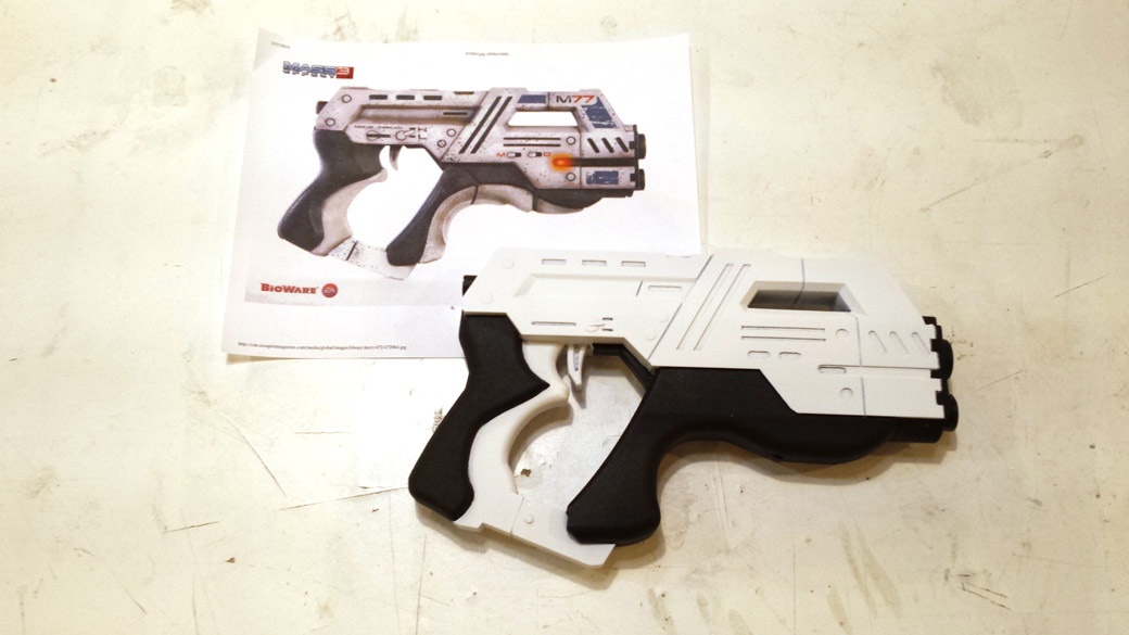 White area of 3D Printed Cosplay Mass Effect Pistol with masking removed