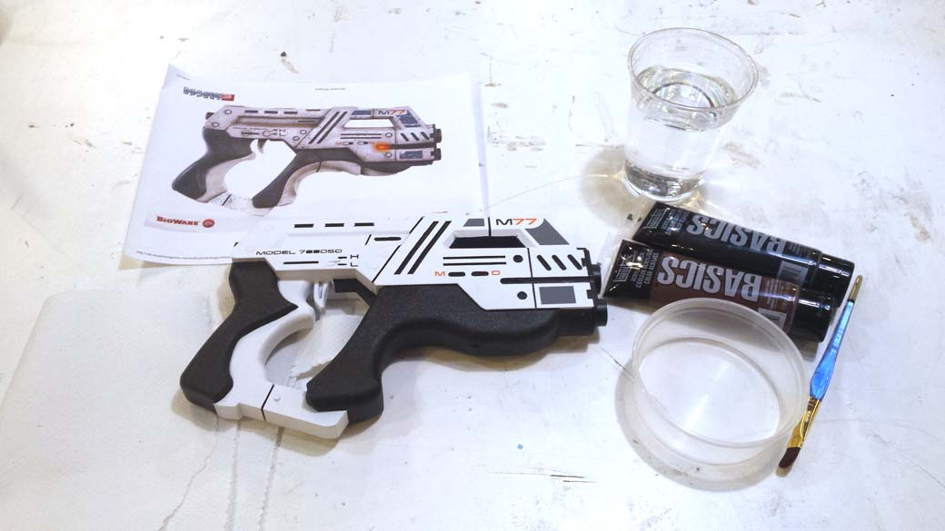 Supplies for weathering 3D Printed Cosplay Mass Effect Pistol