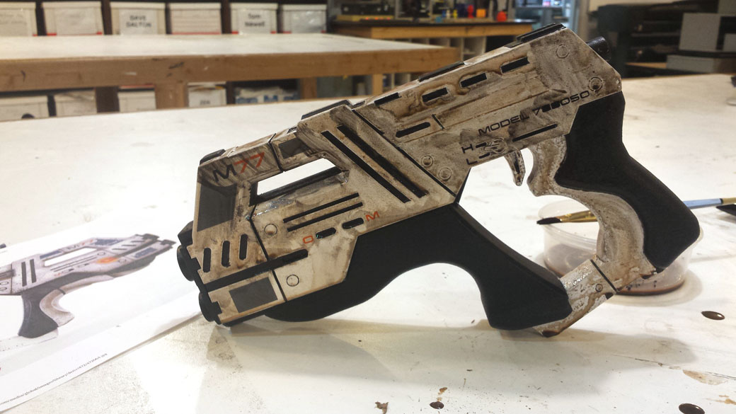 Letting the Weathering Wash Dry on the 3D Printed Cosplay Mass Effect Pistol