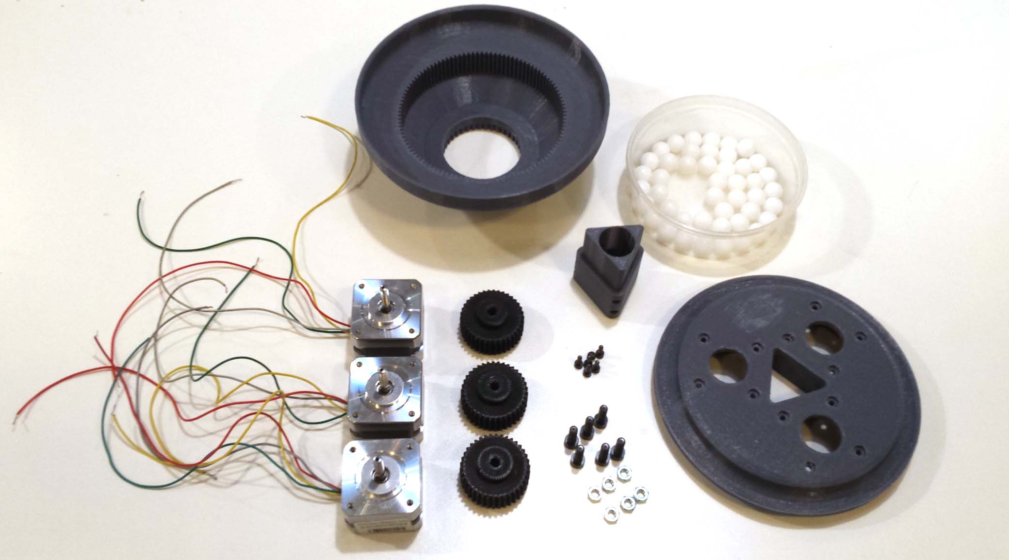 The Parts of the 3D Printed Stepper Motor Generator.  The Spheres are 1/2 inch Delrin balls