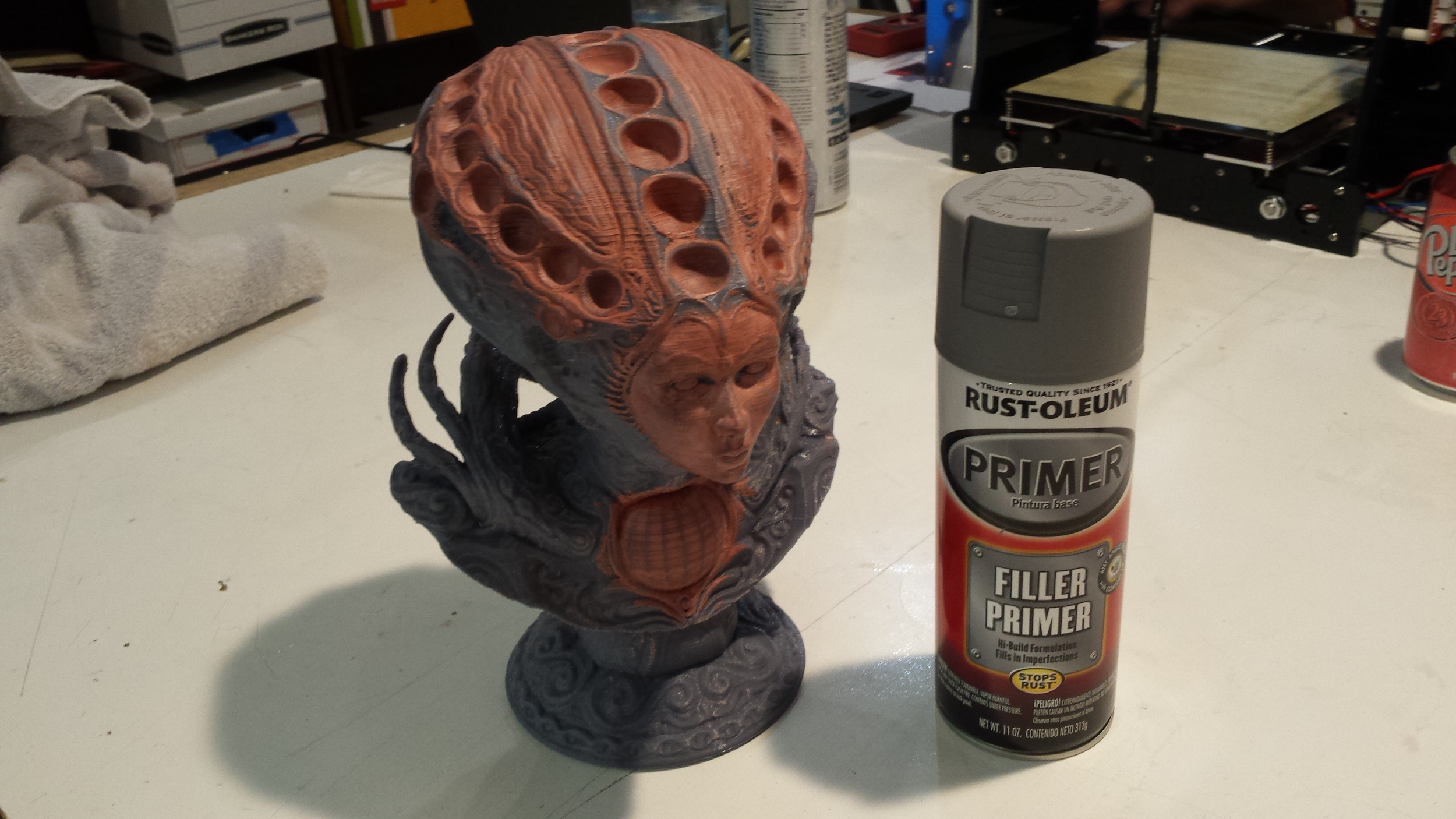 Sandable Primer is great for filling up small imperfections in 3D Printed parts before painting