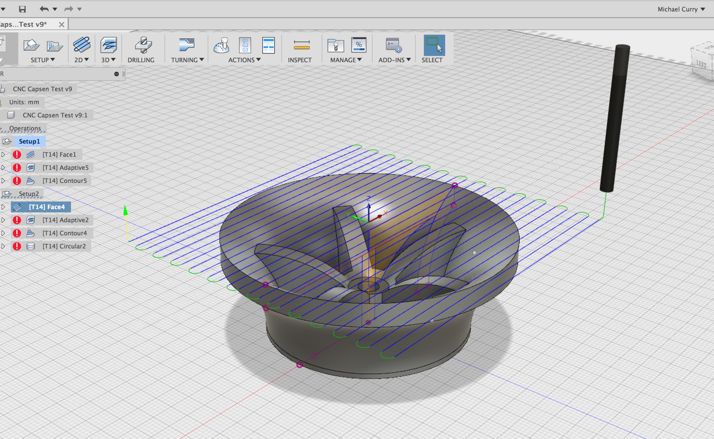 Side B Surfacing Operation toolpath Generated By Autodesk Fusion 360 for the Inevitables X-Carve