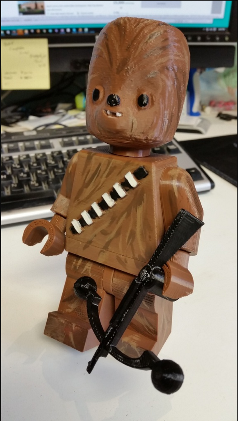 New Chebacca version of the 3D Printed Minifig on MakerBot Thingiverse.