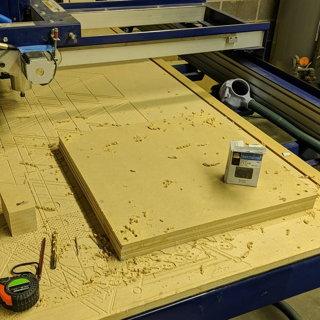 """24"""" x 24"""" x 4"""" MDF blank attached to the spoil board and ready for 3D CNC Carving"""