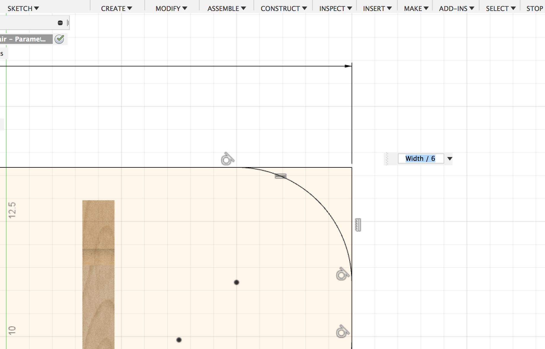 An example of how a parametic dimention is used in Fusion 360