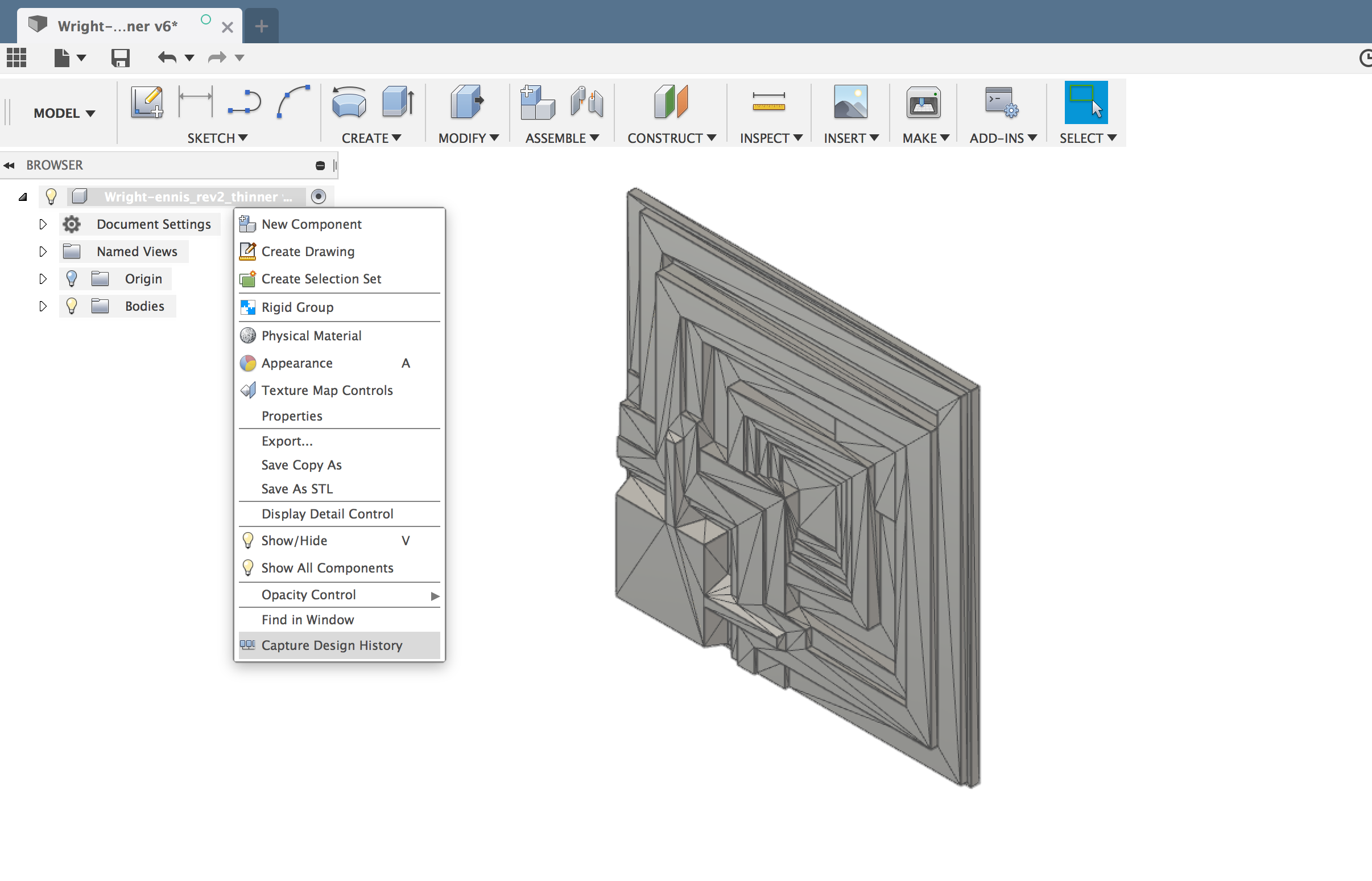 Turning on the 'Capture Design History' Feature in Fusion 360
