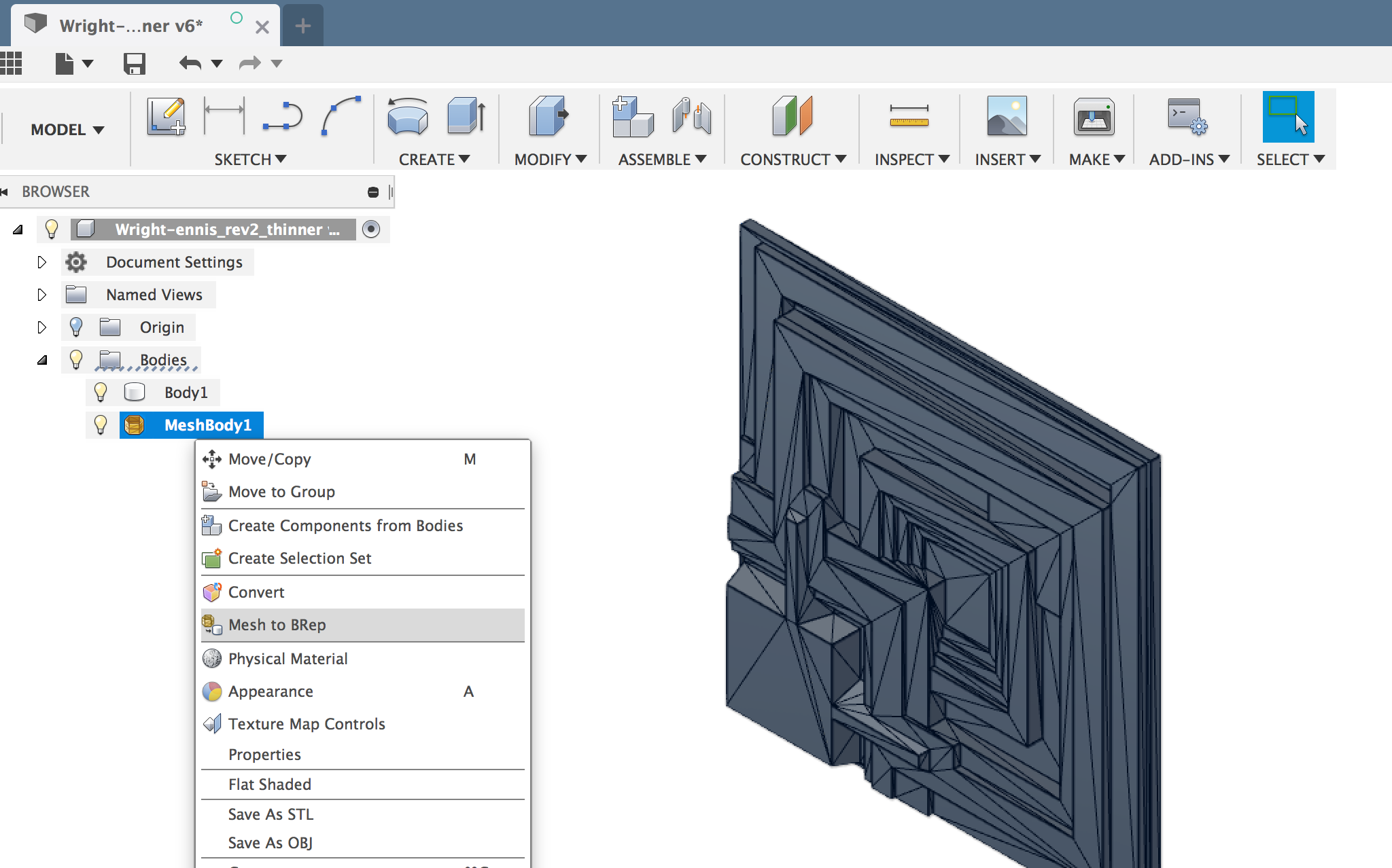 Changing a Mesh to an editable BRep body in Fusion 360