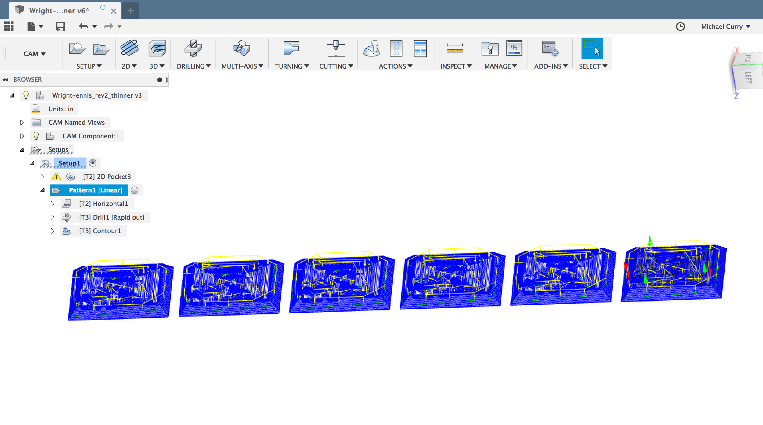 Fusion 360 CAM Pattern tool used to reproduce the same mold face multiple times