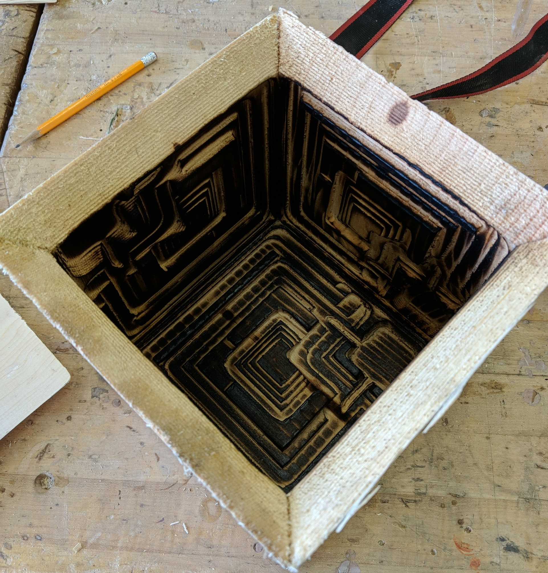 The Finished Flame Polished Ennis House block mold ready to have the top added and be poured full of concrete