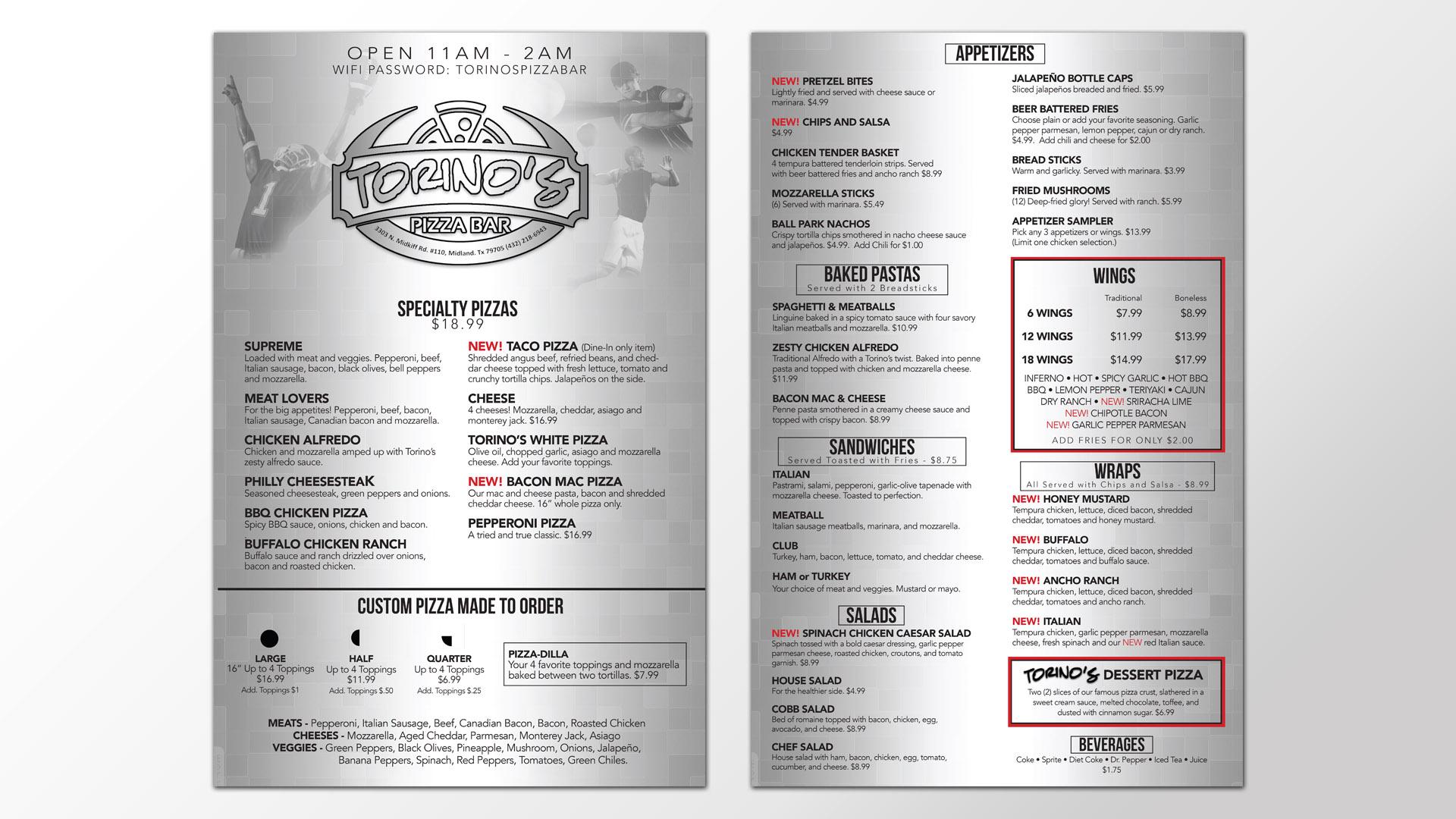 Torino's Pizza Bar Menu Design