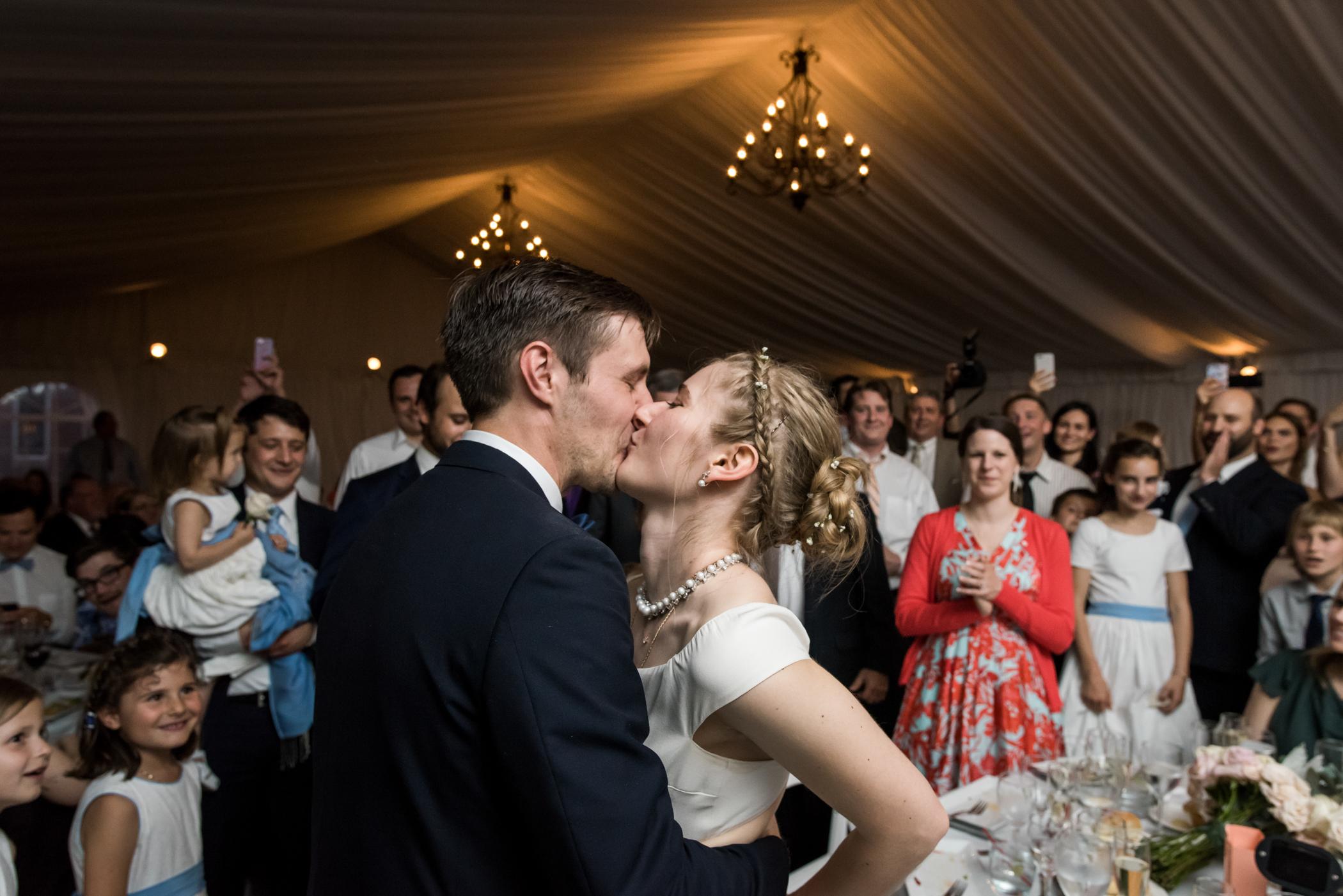 Stefy Hilmer Photography-bride and groom kissing at wedding reception at Lyndhurst Castle.jpg
