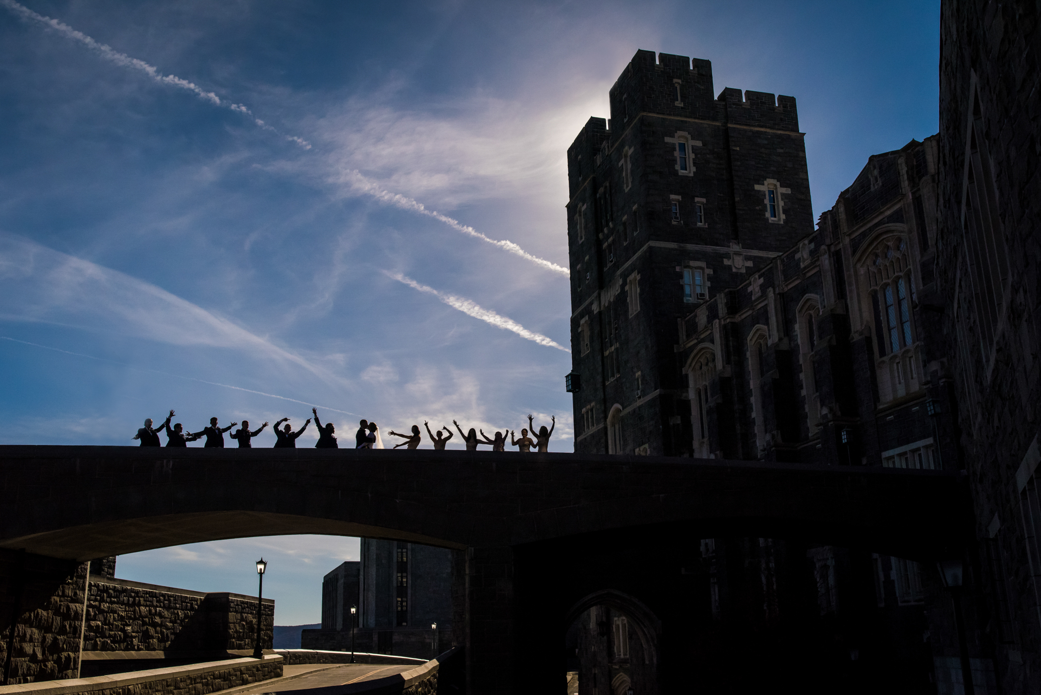 Stefy Hilmer Photography-silhouette photo of the bridal party at West Point Military Academy.jpg