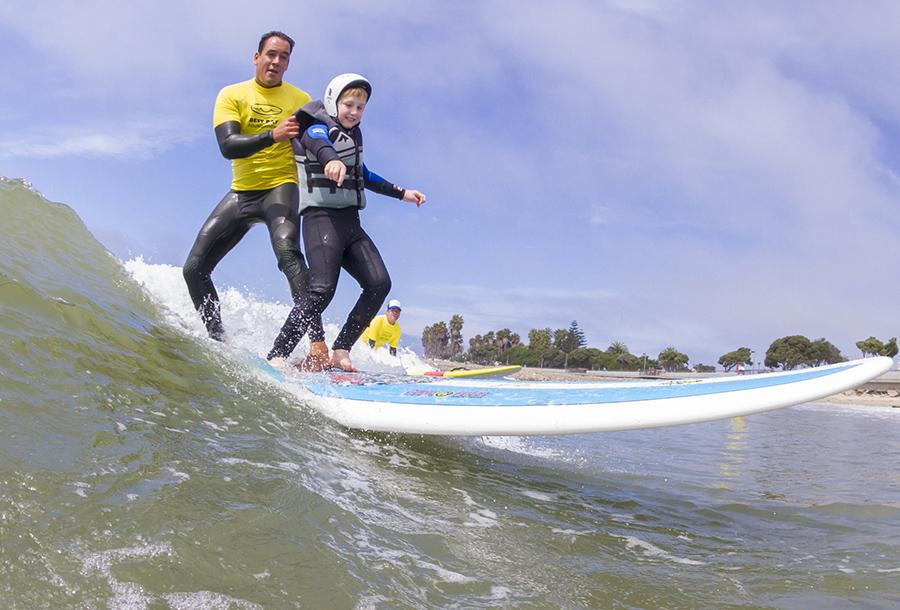 Tandem surfing.