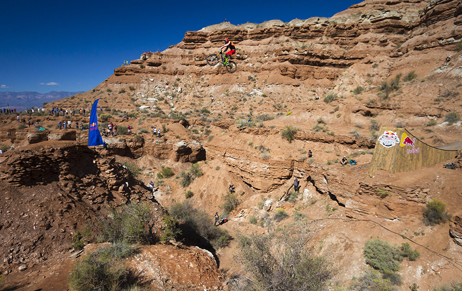 This 72ft canyon gap was ridden by a handfull of people before Kelly decided to backflip in the main.