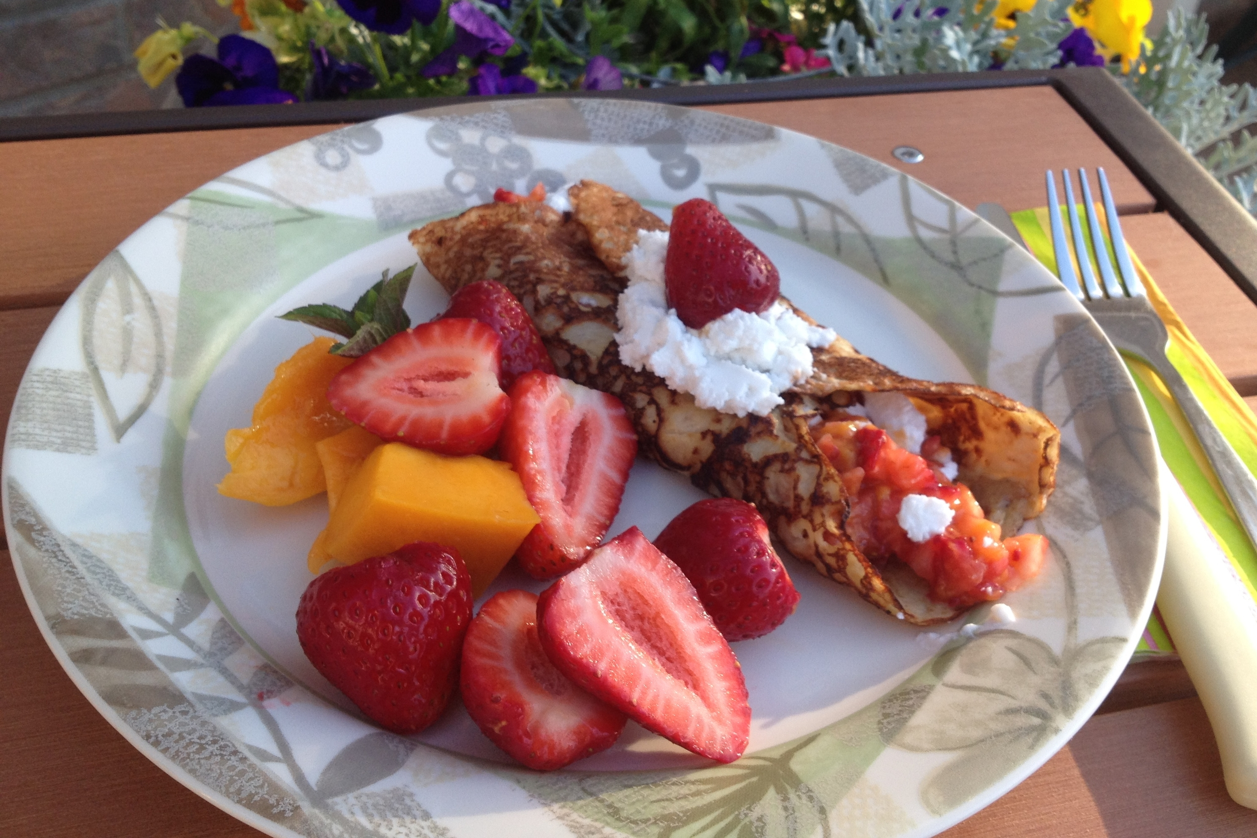 These crepes are perfect for a spring birthday or mother's day coming up soon! Spread with a bit of almond butter and your favorite fresh fruit(or jam), maple syrup and whipped coconut cream, roll up, garnish pretty and yum!