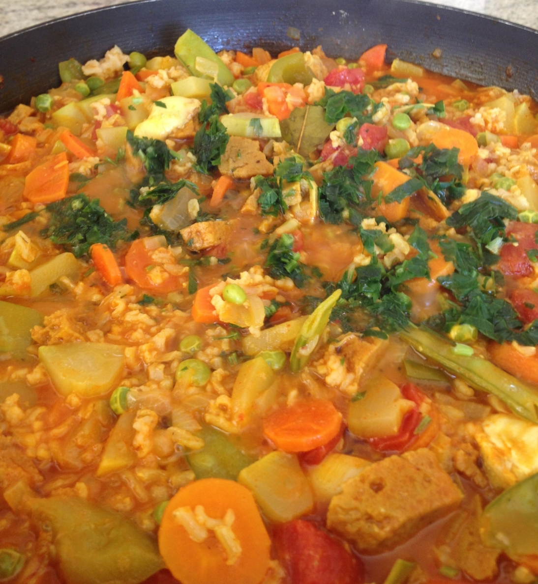 Paella with fresh spring garden ingredients!!