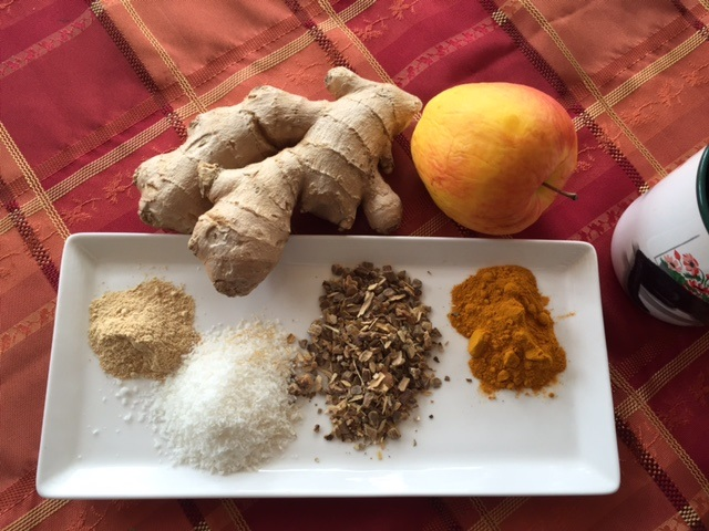 Ingredients for Healing Turmeric Tea! Sorry I forgot a dash of cayenne for the photo