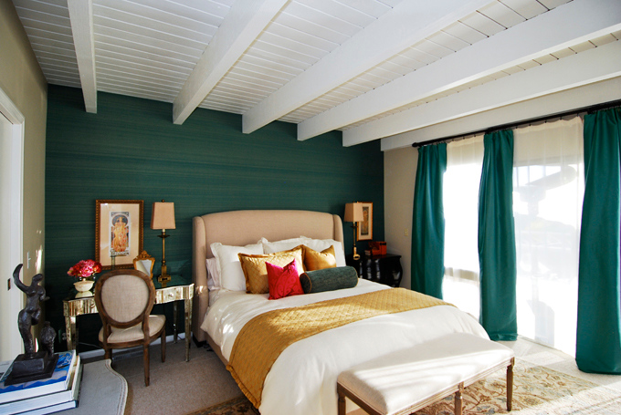 teal and gold bed