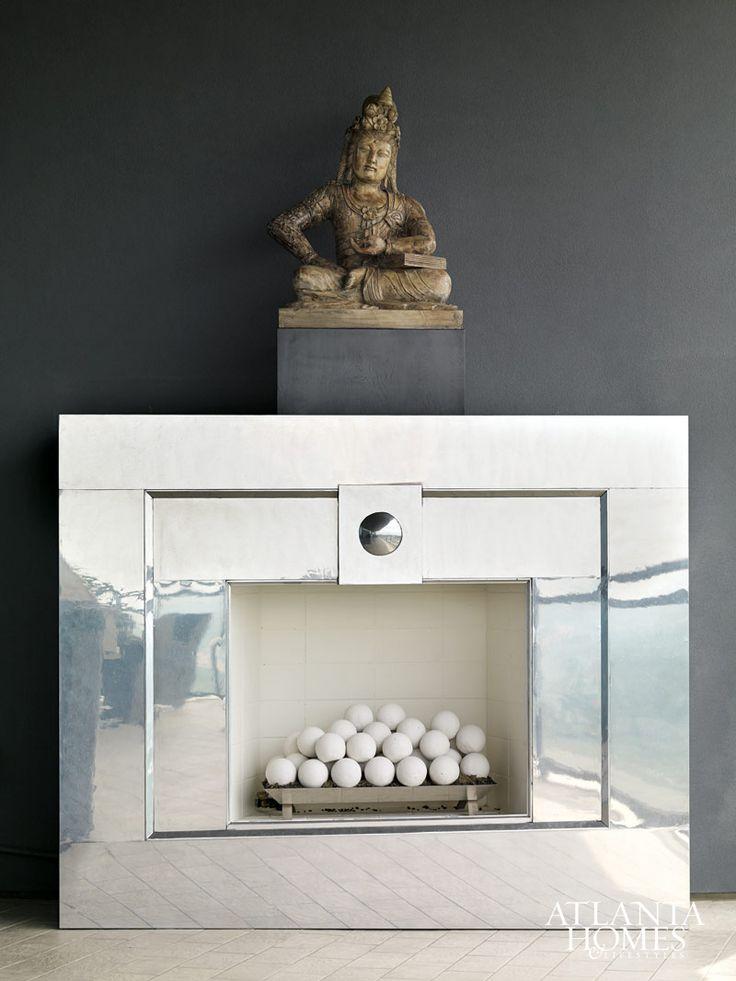 chrome fireplace