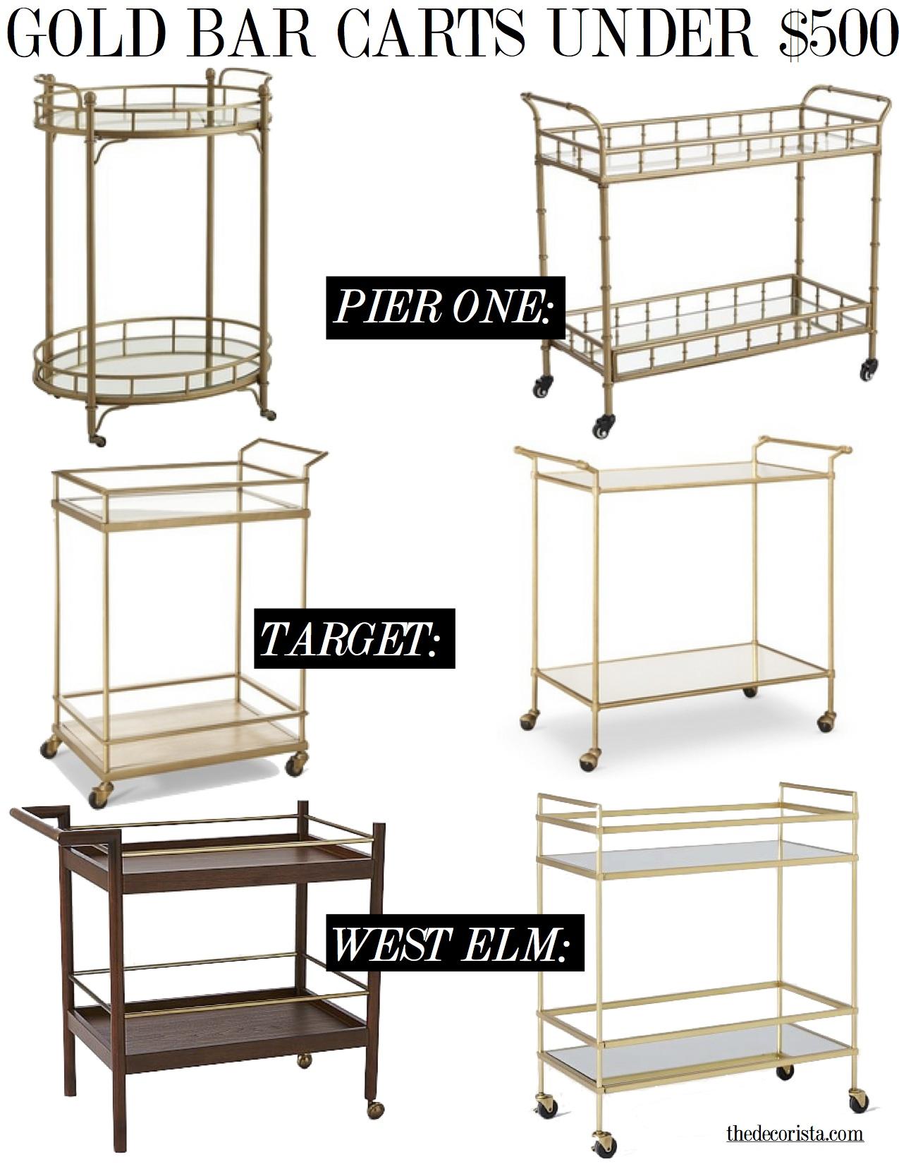 gold bar carts under $500 -the decorista