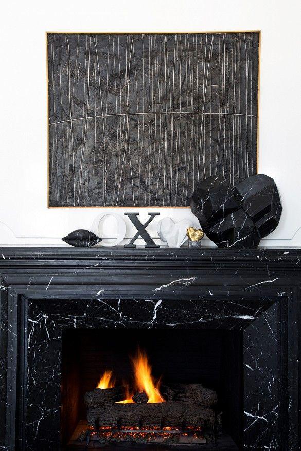 Kelly Wearstler marble fireplace vignette