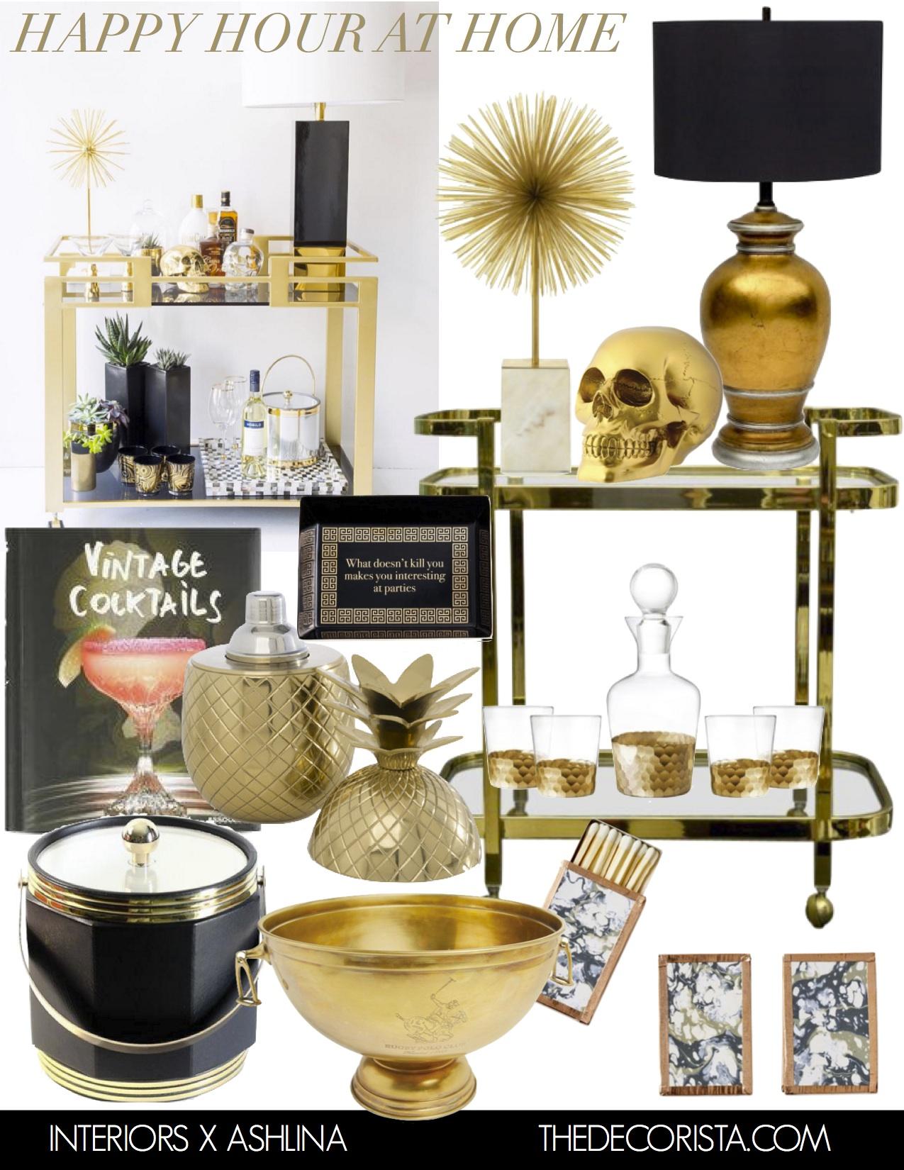 Entertaining Summertime Bar Cart Style Black And Gold Glamour At Home Ashlina Kaposta