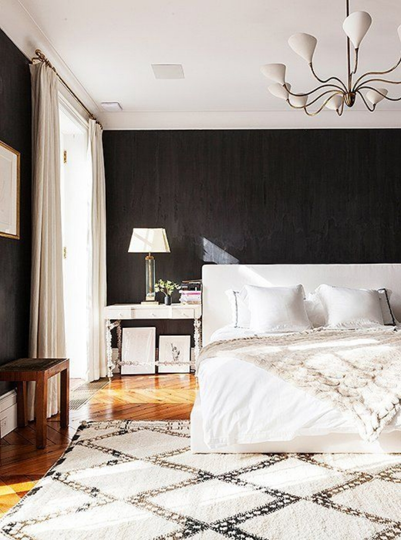 white moroccan wool rug in a bedroom