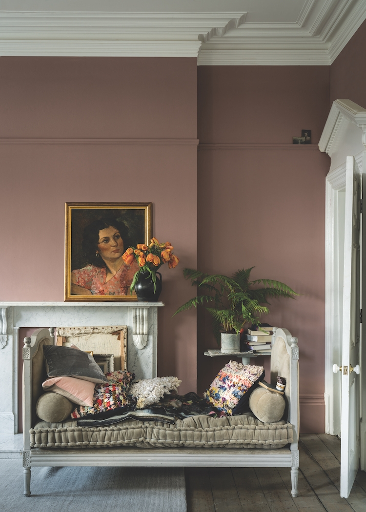 SULKING ROOM PINK 295 : This muted rose is evocative of the colors used in boudoirs, a room originally named after the French 'bouder' – to sulk.