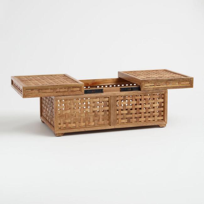 boho slide top coffee table