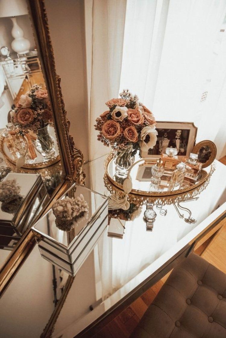 rose gold antique vanity