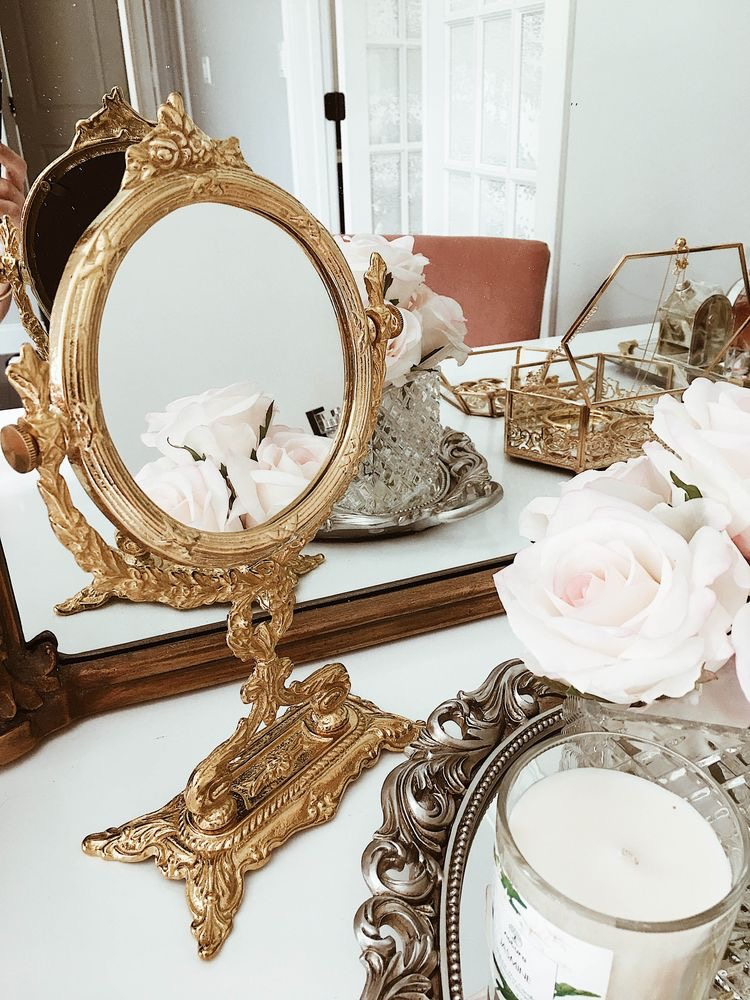 beautiful gold vanity mirror
