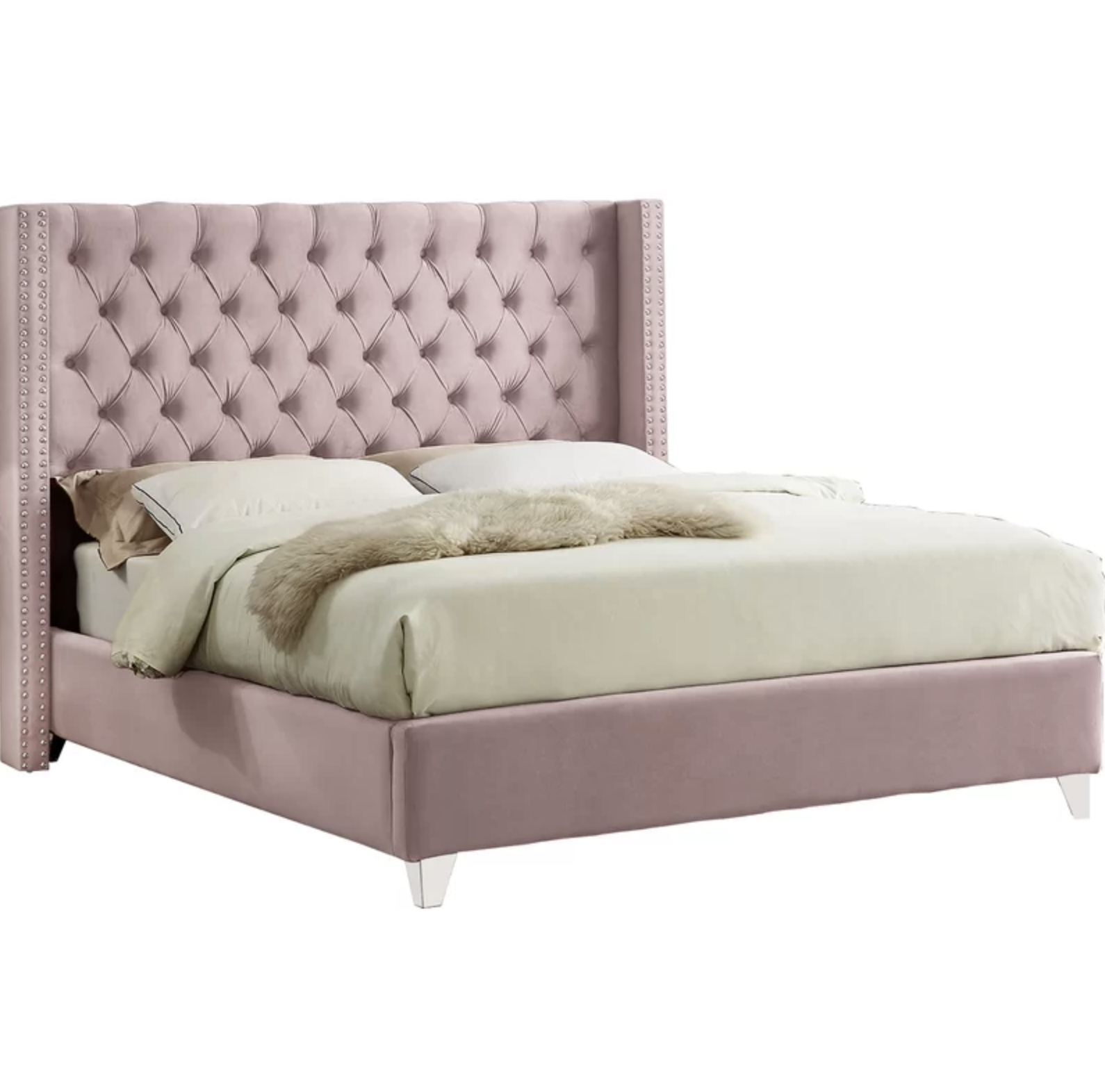 tufted pink velvet bed