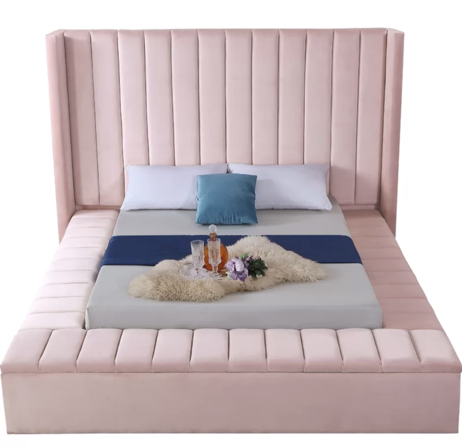 pink panel bed