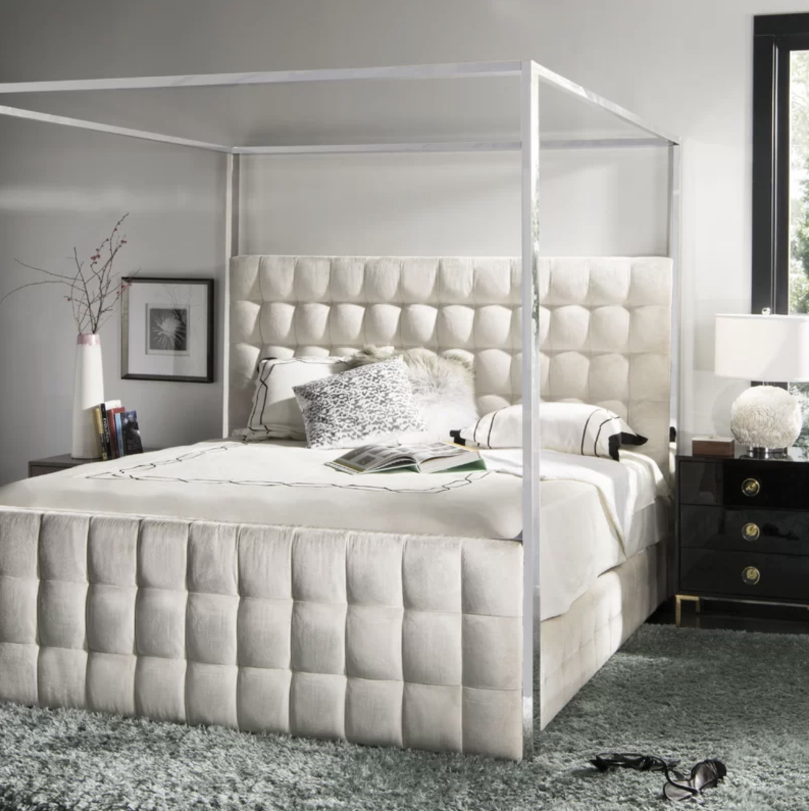 modern glamour canopy bed