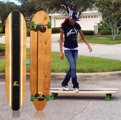 65 inches long / 14 inches wide  Complete set up with... • Tracker Dart 219mm Trucks or Surf-Rodz TKS precision trucks 220mm • Abec 11 97mm Fly Wheels, Abec 7 bearings This is our street cruiser. It carves great and is 14 inches wide. Great for cross stepping, nose rides and cruising. The board weighs 18 lbs which helps it glide a long way with each push. Available in Walnut, or our custom paint/stain job of the day. We are always having fun finishing these different each time we build one.