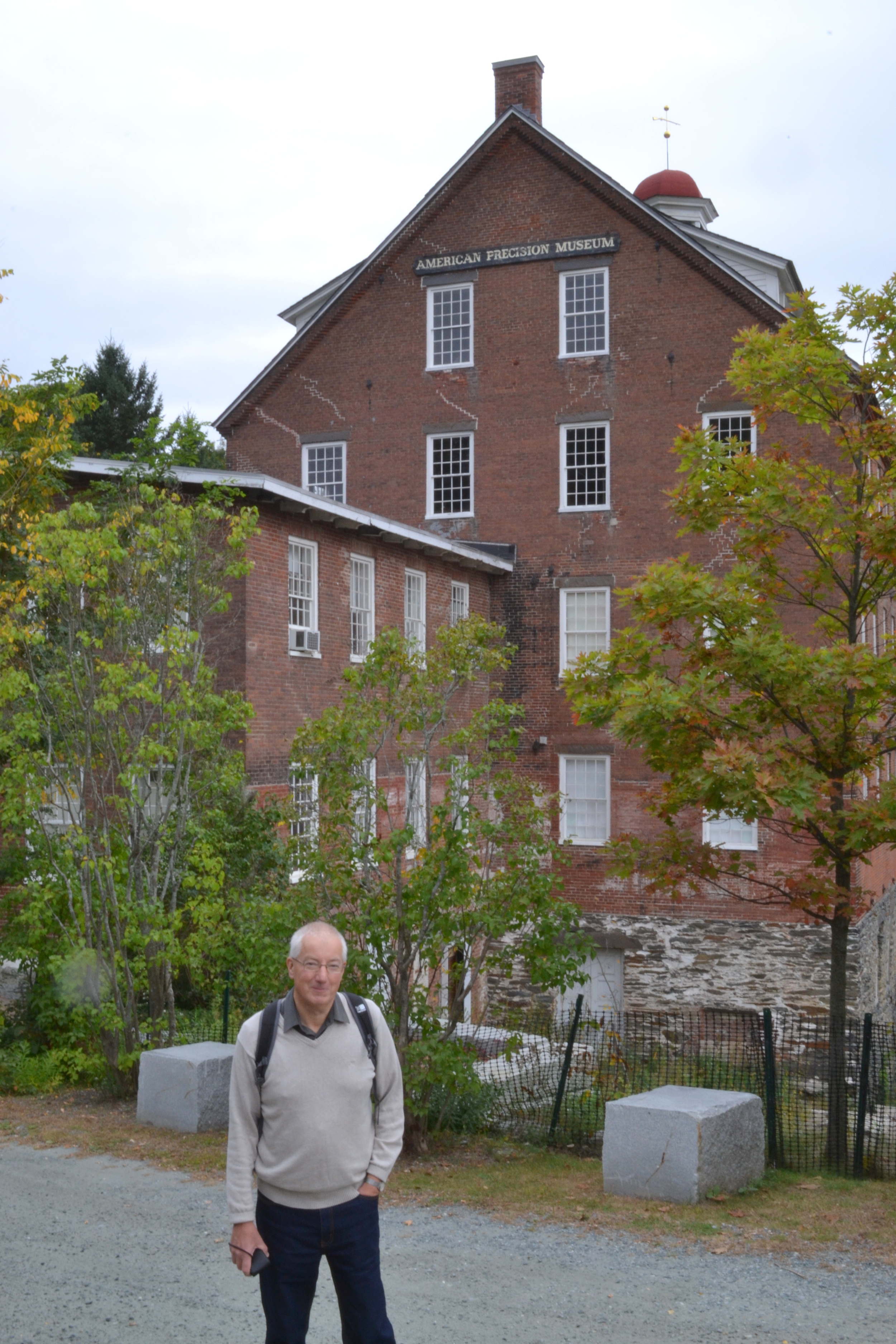 Mike Jones—Snapdragon guest & machine tool enthusiast—in front of the American Precision Museum in Windsor, VT.