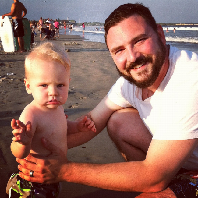 At the beach with son Elijah.