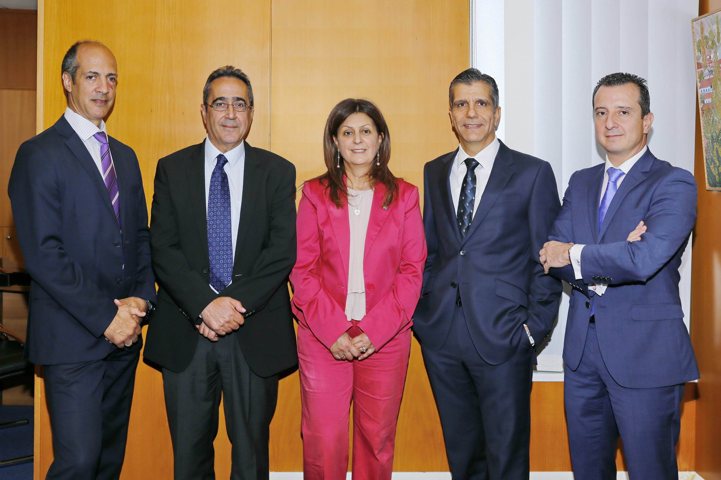 Cyprus Chapter Leaders. From left to right: Agis Taramides, George Rostantis, Dr. Maria Kambia-Kapardis, George Zornas, and Marios Skandalis