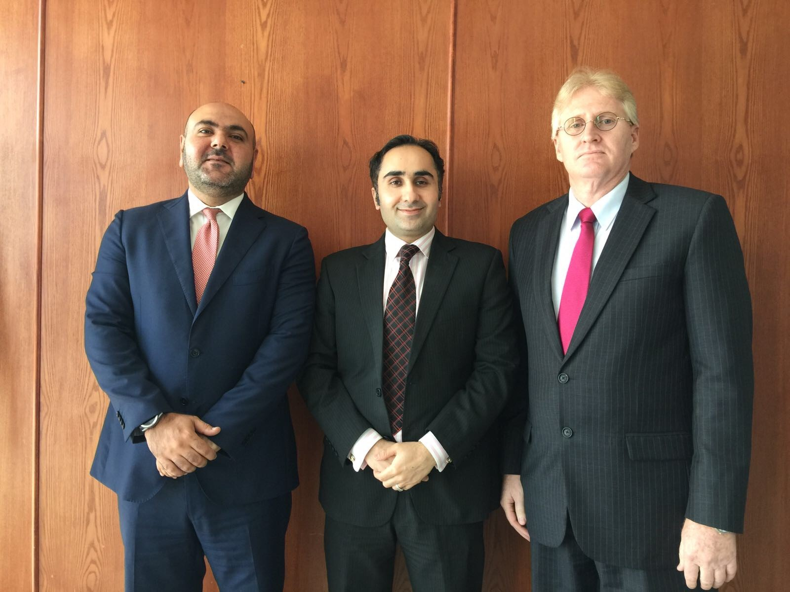 Doha Chapter Leaders. From left to right, Charbel Mehanna, CFE, Imran Zia, CFE, and Ralph Lake, CFE