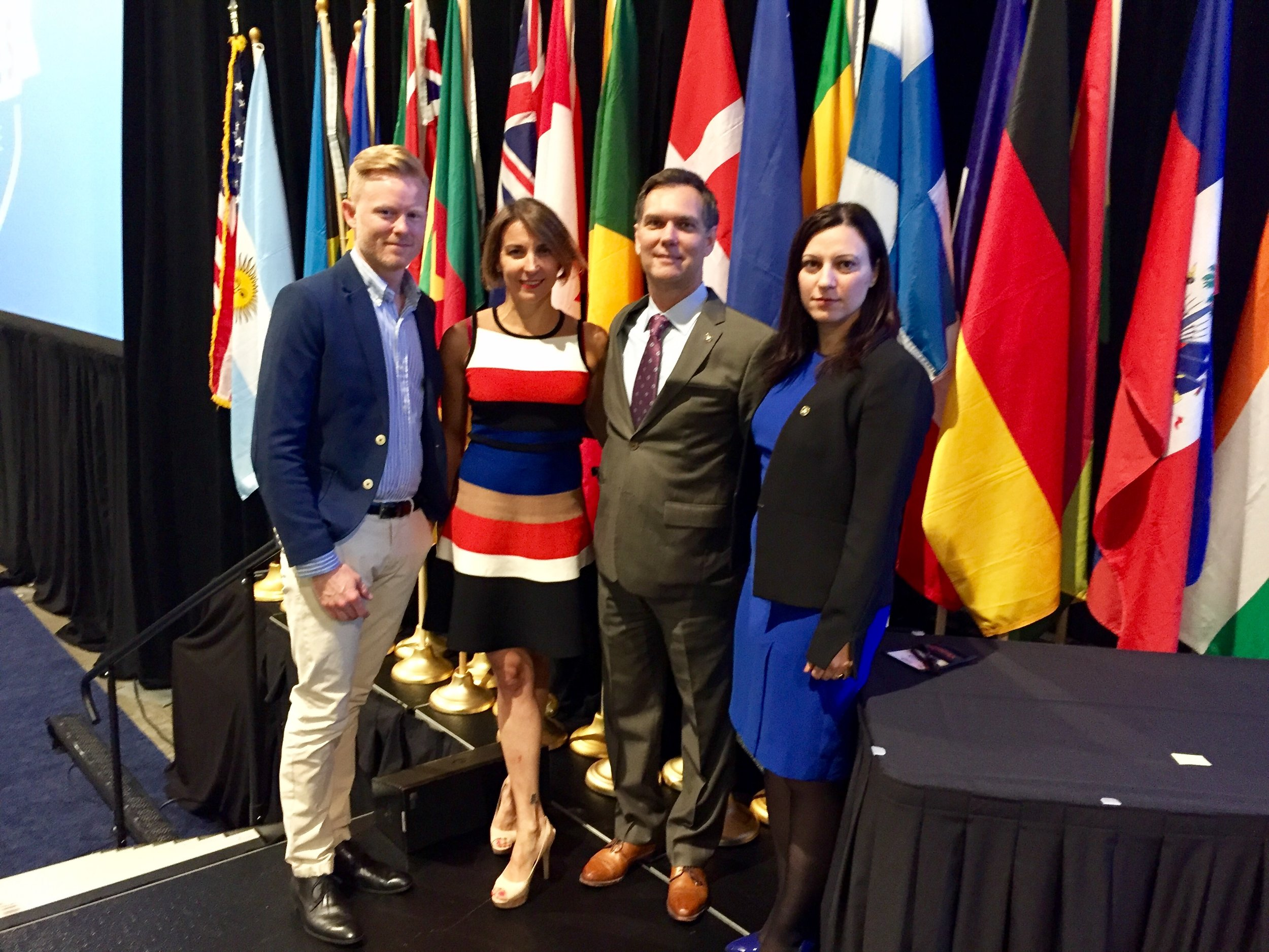 Danish Chapter Leaders. From left to right, Thomas Boegballe, CFE, Dr. Nadia Dosio, CFE, Nicoleta Mehlsen, CFE, with ACFE Vice President and Program Director Bruce Dorris, CFE